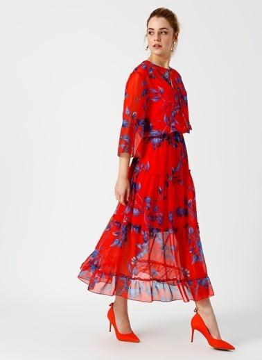 Fabrika Desenli Uzun Şifon Elbise Renkli
